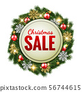 Christmas sale banner on decorative fir tree 56744615