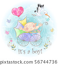 Baby boy in the stroller. I was born. Baby shower. 56744736
