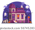 Haunted Halloween Ghost House Scene in Flat 56745283