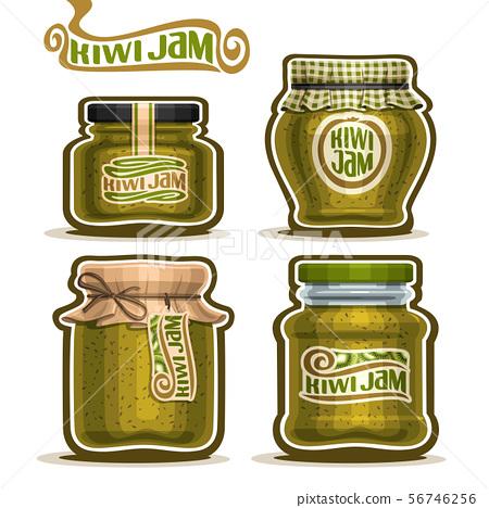 Vector Set Of Kiwi Jam Stock Illustration 56746256 Pixta