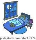 건강하고 평온한 수면 시간을 보내는 여성 56747974