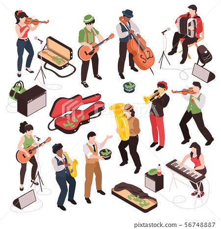 Isometric Street Musician Set 56748887