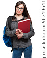 Portrait of a beautiful smiling student 56749641