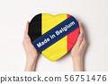 Inscription Made in Belgium, the flag of Belgium. 56751476