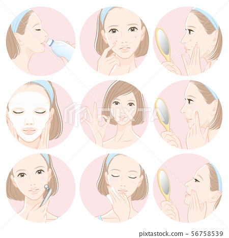 做護膚的婦女的例證 56758539