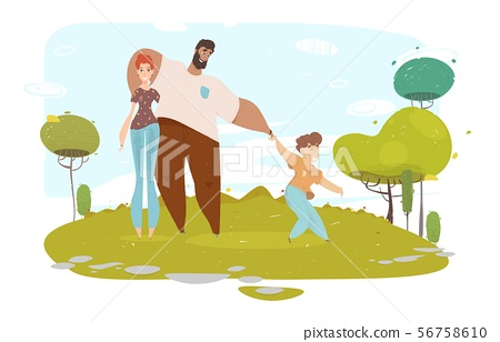 Happy Cartoon Craft Family Portrait on Nature 56758610