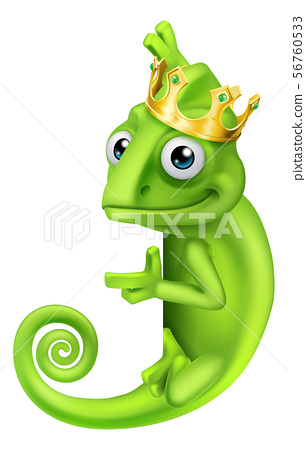 Chameleon King Crown Cartoon Lizard Character 56760533