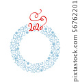 Christmas celebration illustration with new year and christmas symbols and 2020. Xmas wreath with 56762201