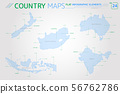 New Zealand, Australia, Indonesia, India and South Africa Vector Maps 56762786