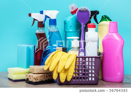 different products and cleaning items on a blue background 56764385