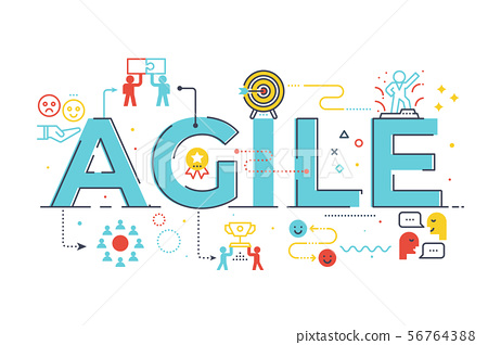 Agile word lettering illustration 56764388