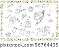 세탁 여성 아이콘 꽃 무늬 프레임 56764435