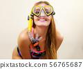 Woman with snorkeling mask having fun 56765687