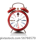 alarm clock with fish dial on white background 56766570