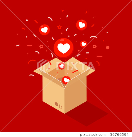 Red hearts fly out of a mailbox isolated on red 56766594