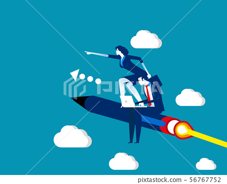 Business team flying on pen. Concept business 56767752