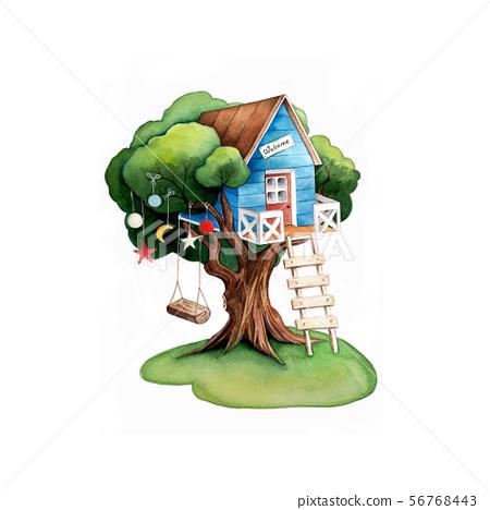 Tree House Cartoon House And Tree Swing Stock Illustration 56768443 Pixta Low poly cartoon trees grass plants and rocks. https www pixtastock com illustration 56768443
