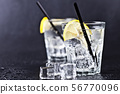 Glasses of fresh cold carbonated water with ice 56770096