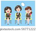 一位領導面試小組面試的女性和另外兩位緊張的人 56771222