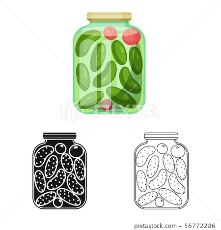 Vector illustration of bank and cucumbers symbol. Set of bank and salty stock vector illustration. 56772286