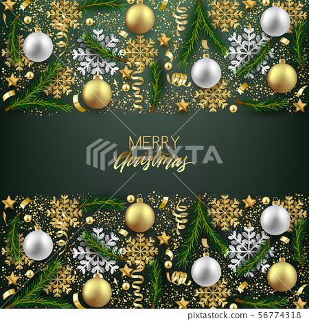 Merry Christmas Happy New Year decorative 56774318