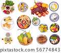 Isolated food for the mixed fruits and desserts  56774843