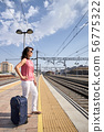 woman waiting for the train with a suitcase 56775322