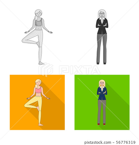 Vector illustration of posture and mood sign. Collection of posture and female vector icon for stock 56776319