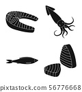 Vector illustration of market and marine icon. Set of market and sea stock symbol for web. 56776668