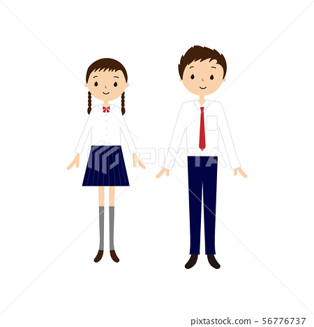 Refreshing junior and senior high school students vector illustration (smile, two people, man and woman, front view, upright) 56776737