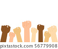 Multiracial fist hands up on white background  56779908