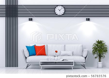 interior living lighting room with sofa. 56783576