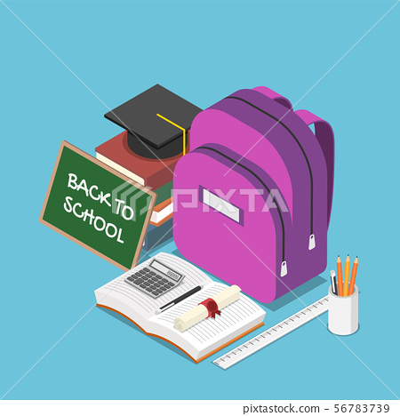 Isometric blackboard with text back to school and 56783739