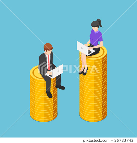 Isometric businessman and businesswoman working 56783742