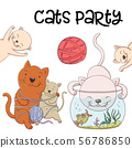 Cute kittens catch fish from the aquarium and have fun and laugh. Joyful little kittens fishers in 56786850