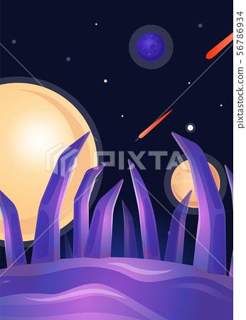 Fantasy alien planet landscape with purple tentacle stones 56786934
