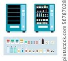 Cartoon full and empty vending machine set - isolated snack food items 56787028