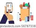 Hand holding smartphone with shopping app flat vector illustration isolated. 56787338
