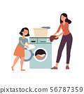Family scene a daughter helps her mother at home flat vector illustration isolated. 56787359