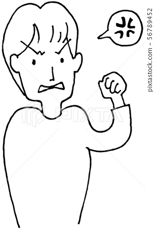 Line drawing illustration Angry youth 56789452