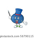 Magician cartoon sweet blueberry character on white background 56790115