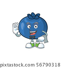 Waiter fresh blueberry character design with mascot 56790318