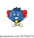 Boxing cute and fresh blueberry fruit character cartoon. 56790570