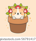 Cute cat in a flowerpot cartoon animal character  56791417