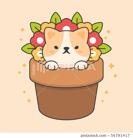 Cute cat in a flowerpot cartoon animal character  56791417