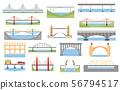 Types of bridges set. Color graphic design, 56794517