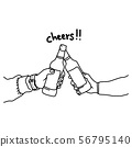 Two hands holding two beer bottles vector 56795140