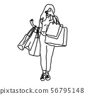 woman holding shopping bags closing her face 56795148