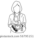 half portrait of woman holding dish with cup cake 56795151