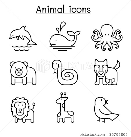 Animal icon set in thin line style 56795803